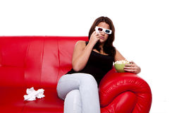 Woman watching 3D movie, Stock Images
