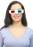 Woman watching a 3D movie Royalty Free Stock Photos