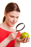 Woman watching apple Royalty Free Stock Photo