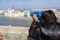 Woman watching Budapest Royalty Free Stock Image