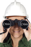 Woman watching the crisis. Woman watching the global economy in crisis Stock Photos