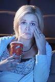 Woman Watching Emotional Movie Stock Images