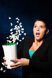 Woman Watching Horror Movie - Night Stock Images
