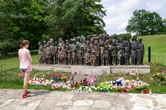 Woman watching on memorial of victims of the war in Lidice Stock Photo