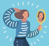 Woman watching a mirror. Vector cartoon illustration o Woman watching a mirror and admires herself, self-confidence, narcissism Royalty Free Stock Photos