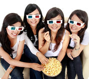 Woman watching movie in 3d Royalty Free Stock Photography