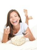 Woman Watching Movie Laughing Royalty Free Stock Image