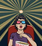 Woman Watching Movie Pop Art Poster Royalty Free Stock Photography