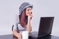 Woman watching movies Royalty Free Stock Photo