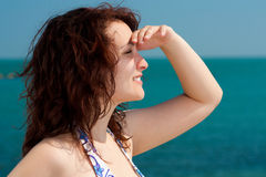 Woman Watching the Sea Stock Image