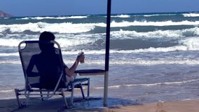 Woman Watching The Sea in Slow Motion stock footage