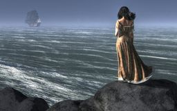 Woman Watching a Ship Sailing Away. A dark haired woman stands atop a cliff looking out to sea. The ocean breeze blows through her hair and makes her brown dress stock illustration