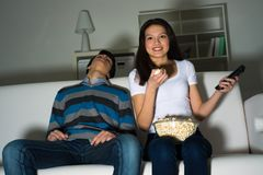 Woman Watching Television At Home Royalty Free Stock Images