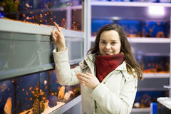 Woman watching tropical fish Stock Images