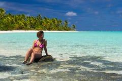 Woman watching turquoise lagoon Stock Photography