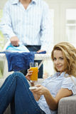 Woman watching TV Royalty Free Stock Photos