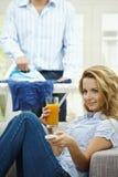 Woman watching TV Royalty Free Stock Photos
