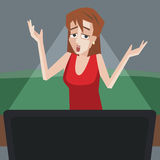 Woman watching tv with bad emotions Royalty Free Stock Photo
