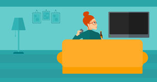 Woman watching TV. Stock Images