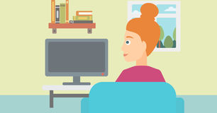 Woman watching TV. Stock Image