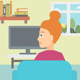 Woman watching TV. Royalty Free Stock Photos