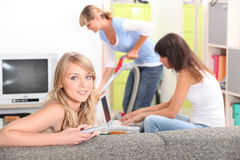 A woman watching tv Stock Image