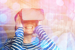 Woman watching 360 video with virtual reality headset Stock Photography