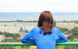 Woman watching view of the city Gdansk Stock Image