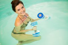 Woman on water aerobics Royalty Free Stock Image