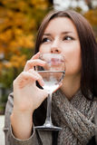 Woman water autumn Royalty Free Stock Photos
