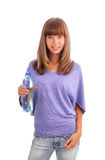 Woman with a water bottle Royalty Free Stock Images