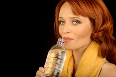 Woman with Water Bottle Stock Photo