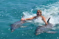 Woman in water with dolphin Royalty Free Stock Photo