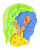 Woman with water driops. Woman autumn, spring, summer symbol with water driops vector illustration stock illustration
