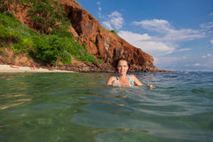 Woman in the water on the island of Ko Lan just outside Pattaya / Thailand Stock Images