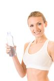Woman with water, isolated Royalty Free Stock Images