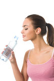 Woman with water, isolated Royalty Free Stock Photos