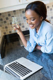 Woman water laptop Royalty Free Stock Images