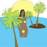 Woman in water with little palm trees Royalty Free Stock Image