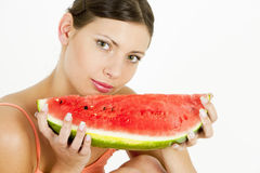 Woman with water melon Stock Photo