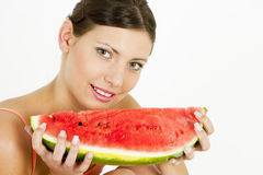 Woman with water melon Stock Images