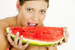 Woman with water melon. Portrait of woman with water melon Stock Photos