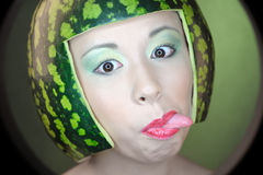 Woman with water-melon Royalty Free Stock Photos