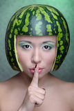 Woman with water-melon Royalty Free Stock Photography