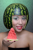 Woman with water-melon Stock Photo