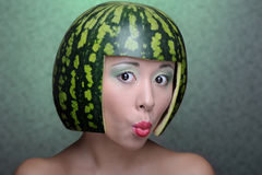 Woman with water-melon Stock Image