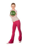 Woman with water-melon Stock Images