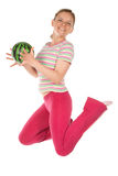 Woman with water-melon Stock Photography