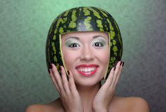 Woman with water-melon Royalty Free Stock Image
