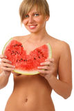 Woman with the water melon Stock Photography